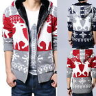 Fashion Mens Hooded Cardigan Coats Casual Elk Print Thick Fleece Knit Jackets