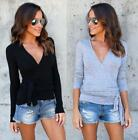 Casual Woman V-neck Top long sleeve bandage Basic T-shirt fittness S-2XL 912