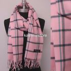100% CASHMERE Scarf Plaid Solid SCOTLAND Wool Wrap SOFT High quality / Infinity