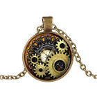 Jewelry Steampunk Compass Gears Cog Cabochon Glass Pendant Necklace Gift Pretty
