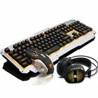 3PCS Rainbow Backlight USB Gaming Keyboard Mouse & Headphone Set For PC Laptop