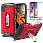 For Apple iPhone XS Max/XR/XS/X Shockproof Case with Card Slot+Tempered Glass