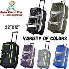 Rolling Wheeled Duffel Bag Travel Suitcase Luggage Trolley 8 Or 6 Pocket 22 Inch