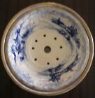 Antique blue/white patterned round china sieve/drainer