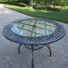 Oakland Living Mississippi Glass Top Aluminum Dining Table