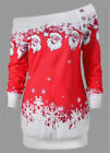 UK Plus Size Womens Girl Christmas Jumper Dress Xmas Santa Claus Long Top Blouse