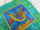 Внешний вид - SEA TURTLE Applique Quilted Pillow Cover Honu Tropical Green Blue Leaves~ NEW