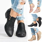 Womens Fashion Ankle Boots Biker Boots Cut Out Slip On Low Heel Short Slip Boots