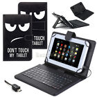 "For 9.7"" 10"" 10.1"" Inch Tablet Micro USB PU Leather w/ Keyboard Folio Case Cover"