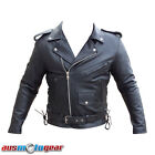 Mens Brando Leather Jacket Motorcycle Biker Jacket CE Armour CHRISTMAS SALE ON!