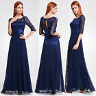 Ever-Pretty US Long Lace Navy Blue Party Gown Half Sleeve Evening Dresses 08878