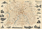 Moscow Mid-century Pictorial Map Wall Poster Vintage History Home School Office