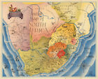 Mid-century Pictorial Tourist Map of South Africa Wall Poster Home School Office