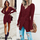 Women Lady Sexy Winter Warm Knitted Dress Long Sleeve Sweater Casual Dresses