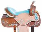 Barrel Racing Saddle 14 15 16 17 Cute Blue Inlay Trail Western Horse Tack