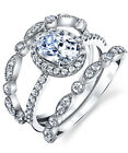 Sterling Silver 925 Engagement Wedding Bridal Set Oval Cubic Zirconia 3pcs