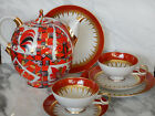 Red Gold Hand Painted Porcelain Teapot  & Cups  Set  Rusian Lomonosov Xmas GIFT