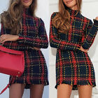 Women Long Sleeve Plaid Checks Slim Mini Dress Cocktail Party Sexy Clubwear New