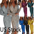 US Women Sequin Sexy V-Neck Evening Dress Cocktail Party Winter Long Sleeve Gown