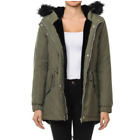 Women Winter  Parka Military Coat Long Warm Faux Fur Trench Hooded Jacket (S-3X)