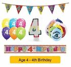Happy 4th Birthday - AGE 4 - Party Balloons Banners Badges & Decorations Helium