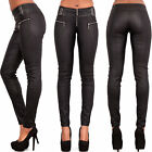 Ladies Women Leather Look Wet Look Trousers Slim Fit Jeans Size 6 8 10 12 14