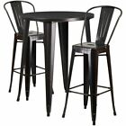 "Bowery Hill 3 Piece 30"" Round Metal Patio Pub Set in Black Gold"
