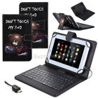 "For 10"" 10.1"" inch Tablet Universal PU Leather USB Keyboard Stand Case Cover US"