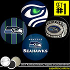 Seattle Seahawks SET OF 4 BUTTONS or MAGNETS or MIRRORS super bowl 2014 #1386 $7.99 USD on eBay