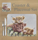 Highland cows placemat and coaster set    by Jane Bannon