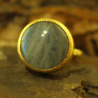Handmade Hammered Designer Labradorite Stack Ring Gold Over 925K Sterling Silver