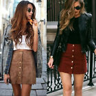 Women High Waisted Pencil Skirt Bodycon Button Suede Leather Short Mini Skirts