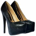 LADIES BLACK GLITTER SHIMMER SPARKLY HIGH HEEL PLATFORM STILETTO PARTY SHOES