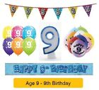 Happy 9th Birthday AGE 9 Party Balloons Banners Badges & Decorations Helium BOY