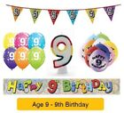 Happy 9th Birthday AGE 9 Party Balloons Banners Badges & Decorations Helium (1C)