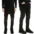 Men's Distressed Ripped Jeans Moto Black Denim Pants Slim Skinny Fit Trousers