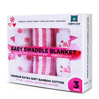 Muslin Bamboo Swaddle Blanket [Set of 3] for Baby Girls by Pamper Bear - Soft or