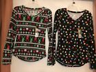 NWT Womens Long Sleeve knit tops, Christmas Theme Black Reindeer and Lights Size