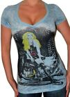 Sexy Blue Burn-out style Screen Star Blinged Brigette Bardot V-neck t-shirt top