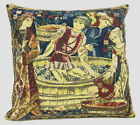 Medieval Belgian Vendage Mille Fleur Woven Tapestry Cushion Pillow Cover NEW