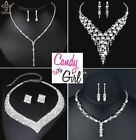 Stunning Crystal Diamante Evening Wedding Prom Necklace & Earring Jewellery Sets