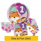 ONE IS FUN GIRL Age 1 First 1st Birthday Party - Tableware Supplies Decorations