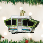 Tent Camper Glass Ornament Old World Christmas New in Box Camping