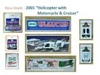 (1) 2001 HESS HELICOPTER with MOTORCYCLE & CRUISER-MIB w Matching HESS Carry Bag