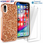 Gold Glitter Bling Luxury Protective Case Cover For iPhone Xs Max XR 8 7 Plus