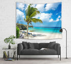 Sunny Beach Palm Trees Snow Mountain Tapestry Wall Hanging for Living Room Dorm