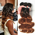 4 Bundles Brazilian Human Hair Weaves Extensions Ombre 1b/30 Brown Body Wave