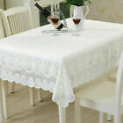 White Embroidery Lace Tablecloth Floral Sofa Towel Cover Dining Table Cloth