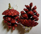 THANKSGIVING FALL Christmas RED PINE CONE 925 EARRINGS Nora's Handcrafted USA
