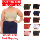 Womens Plus Size Bandeau Tube Top Strapless Padded Seamless XL 2X 3X 4X Crop Tee